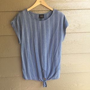 Anthropologie W5 tie front dotted tunic top